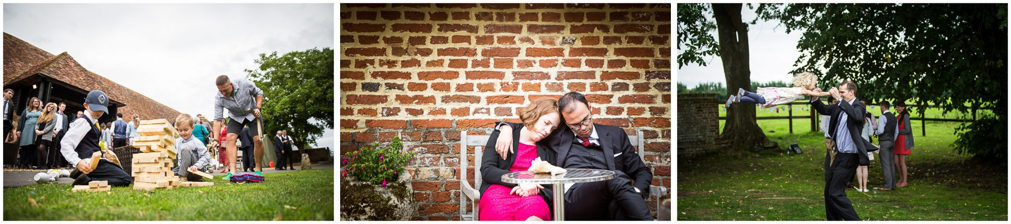 Winchester Great Hall wedding photography guests and garden games at barn reception