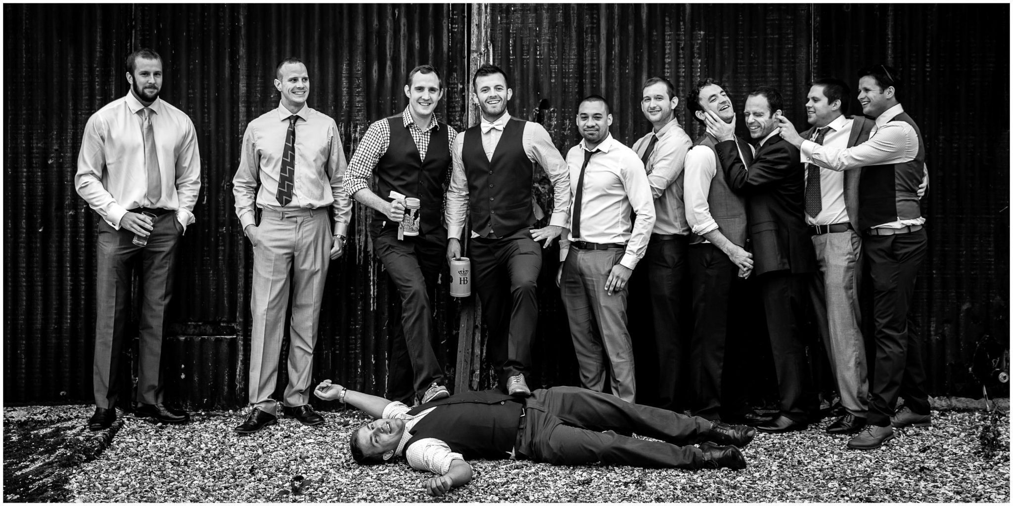 Winchester Great Hall wedding photography groom with the stag