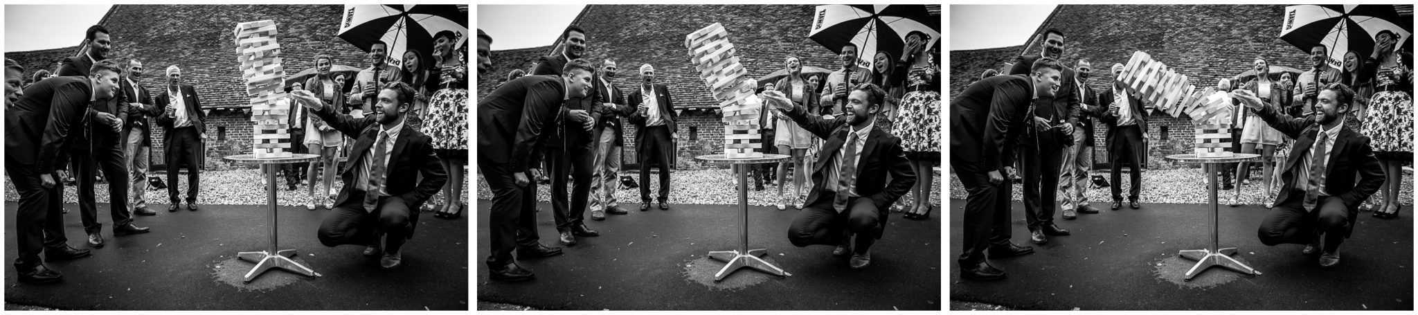 Winchester Great Hall wedding photography jenga toppling