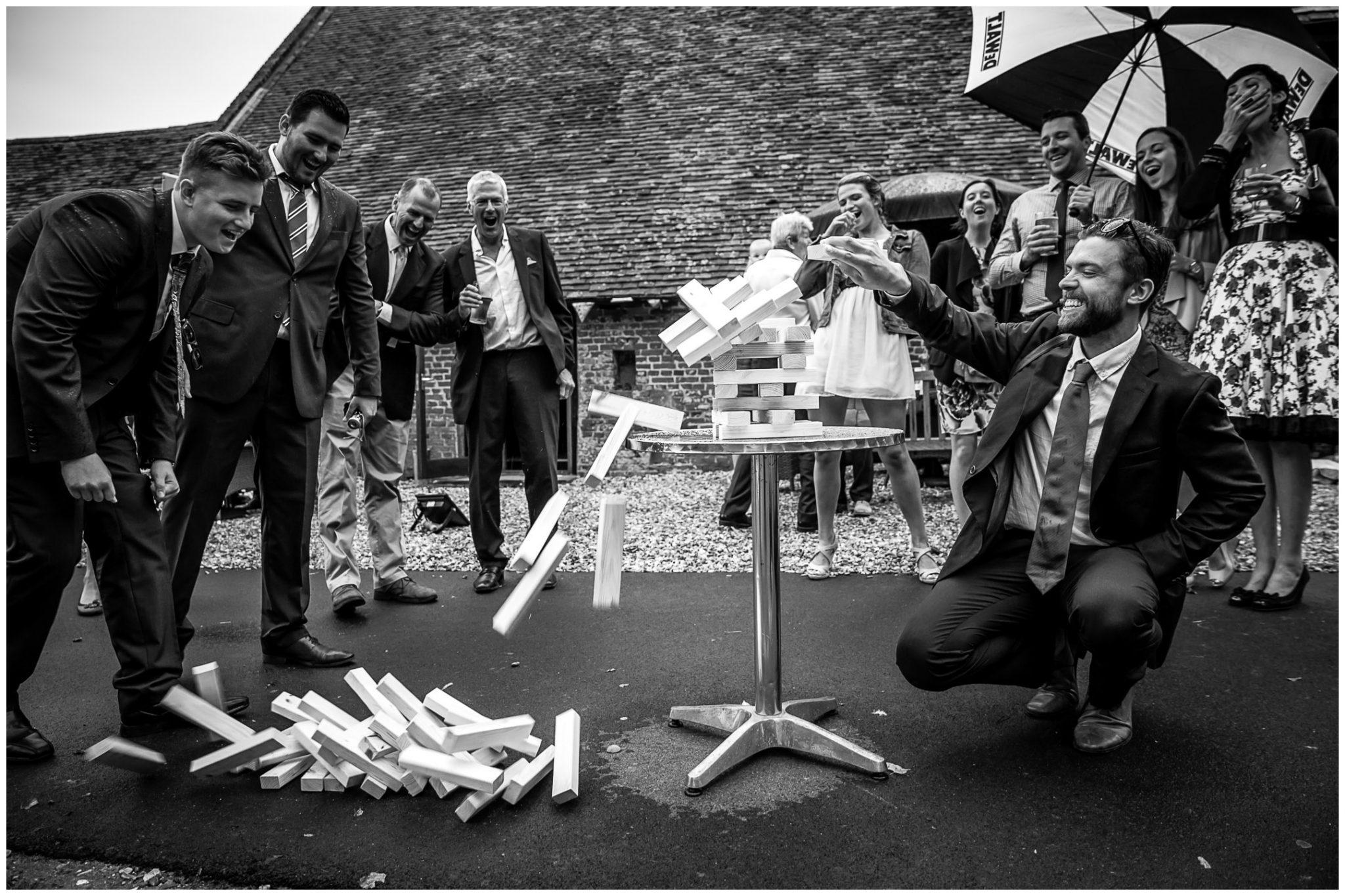 Winchester Great Hall wedding photography jenga crash