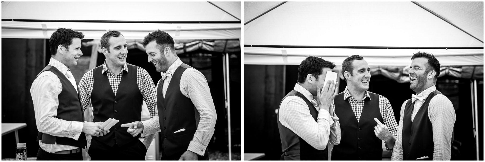 Winchester Great Hall wedding photography groomsmen prepare for speech
