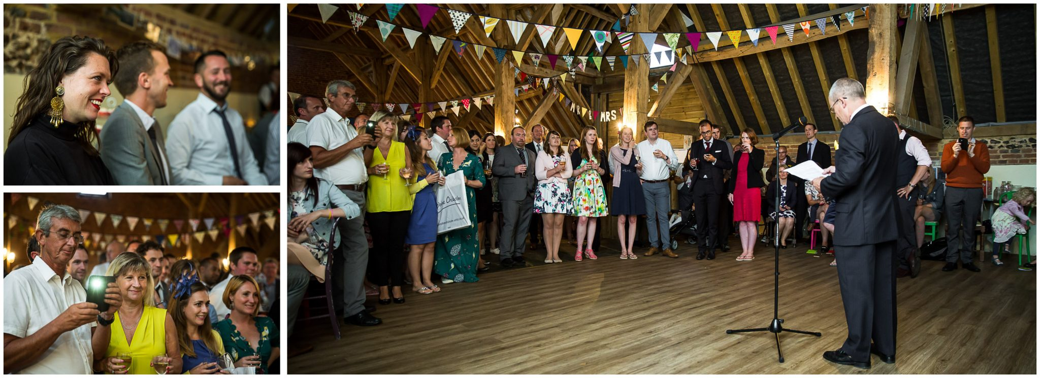 Winchester Great Hall wedding photography guests watching speeches