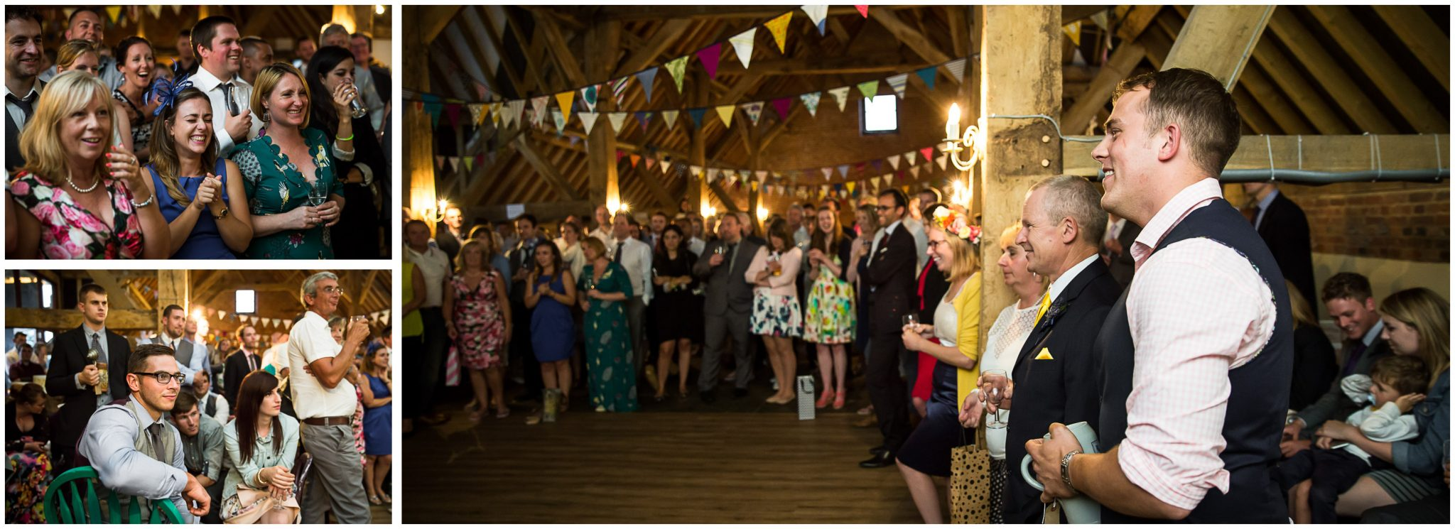 Winchester Great Hall wedding photography groom watches speeches