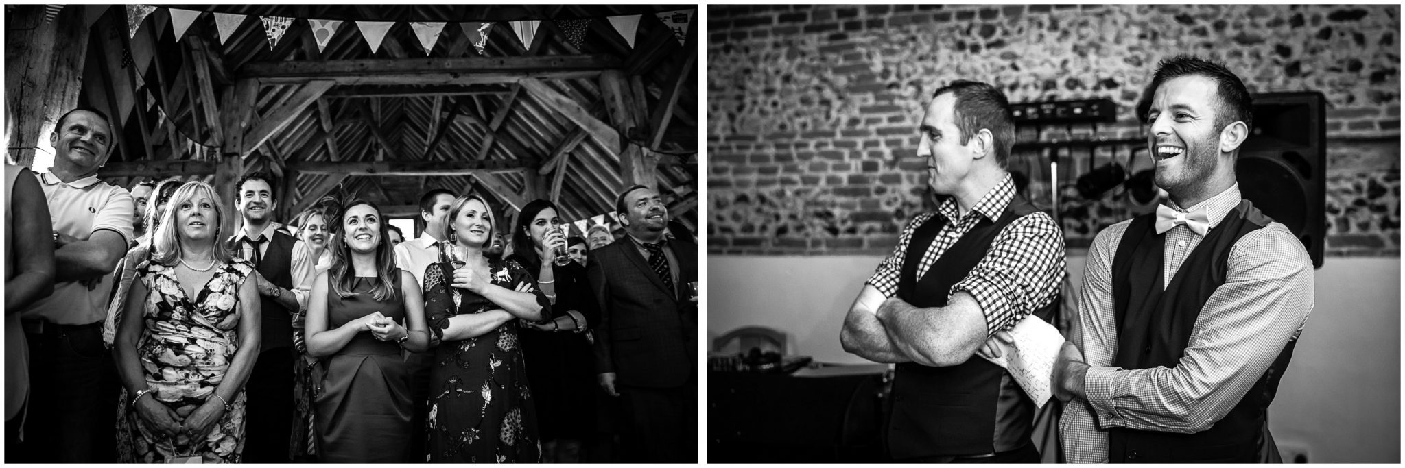 Winchester Great Hall wedding photography candids during speeches black and white