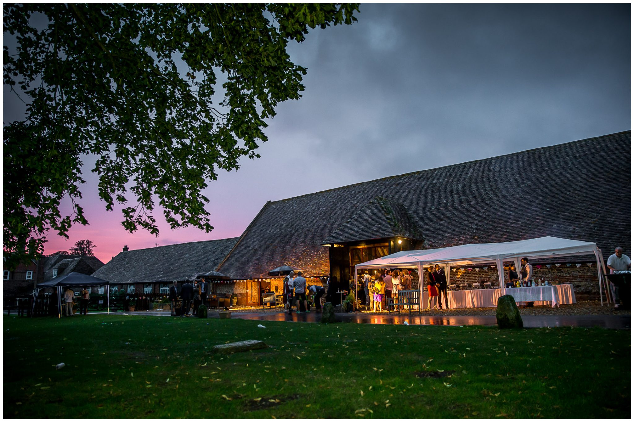Winchester Great Hall wedding photography reception barn exterior sunset