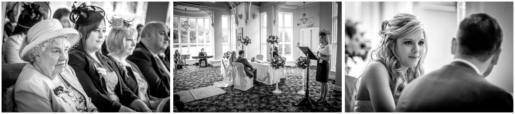 Audleys Wood wedding photography ceremony black and white photos