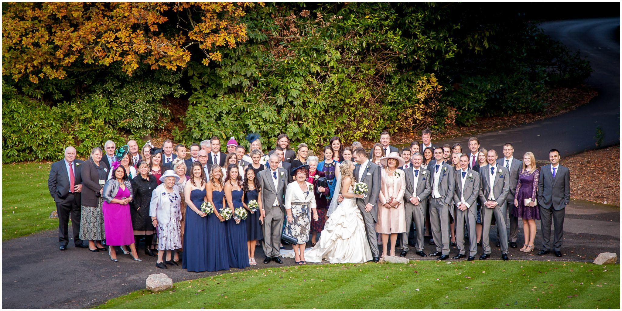 Audleys Wood wedding photography large group photo on driveway