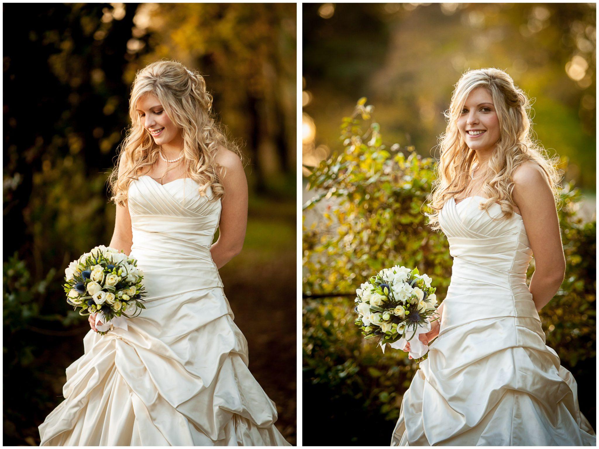 Audleys Wood wedding photography bridal portraits in autumn sunshine