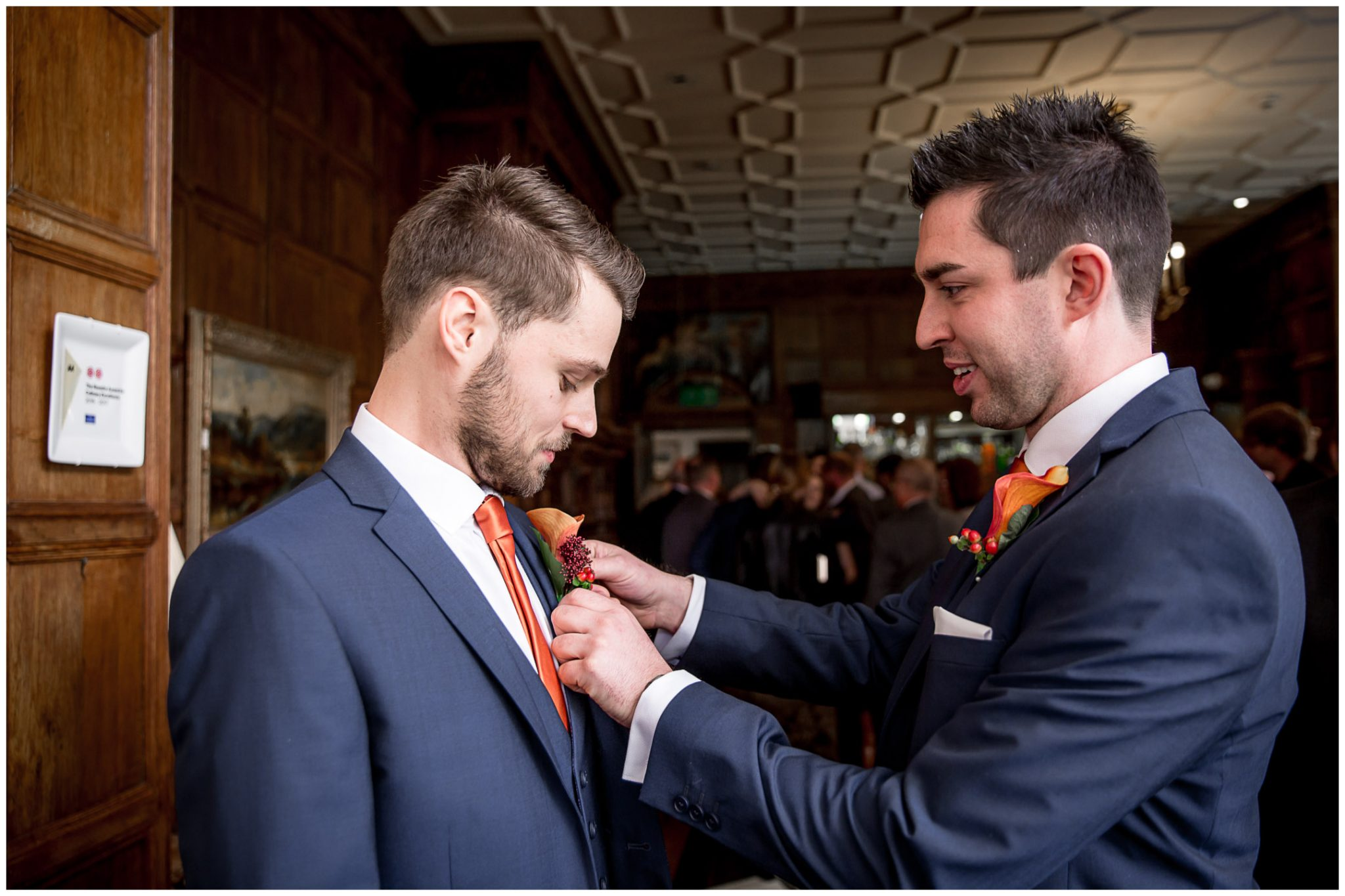 Audleys Wood wedding photograhy groom and best man before ceremony