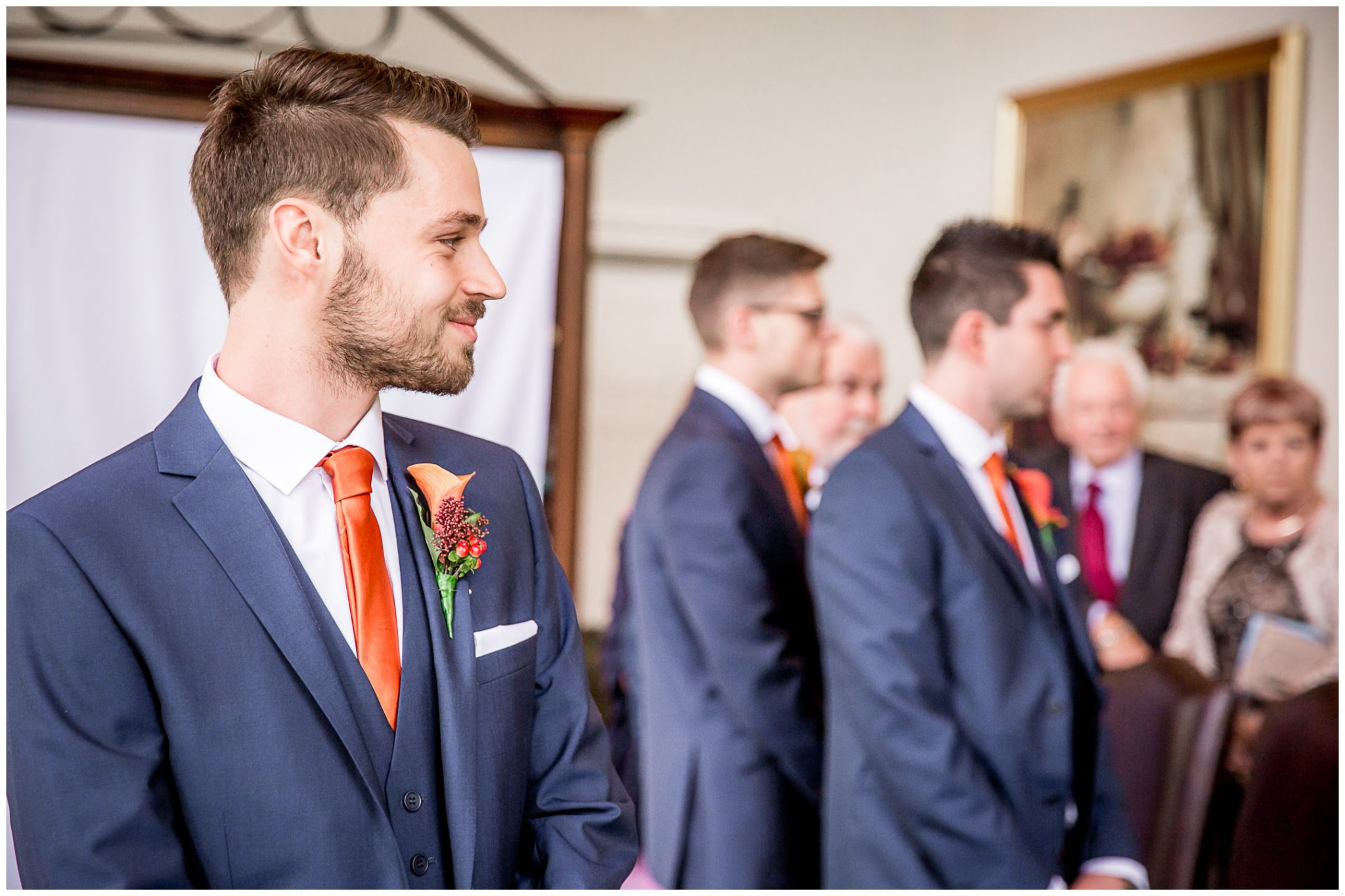 Audleys Wood wedding photograhy groom watches bride walk down the aisle