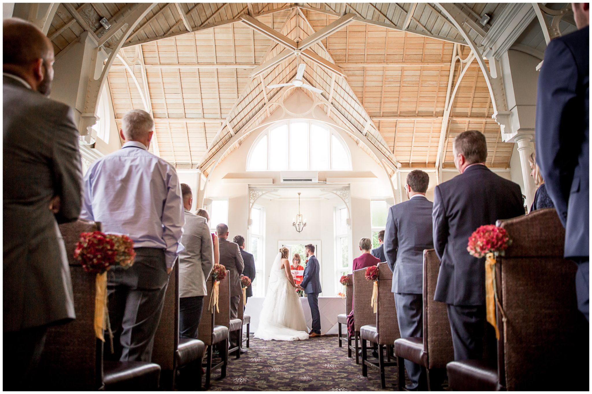 Audleys Wood wedding photograhy ceremony room photographed from the back