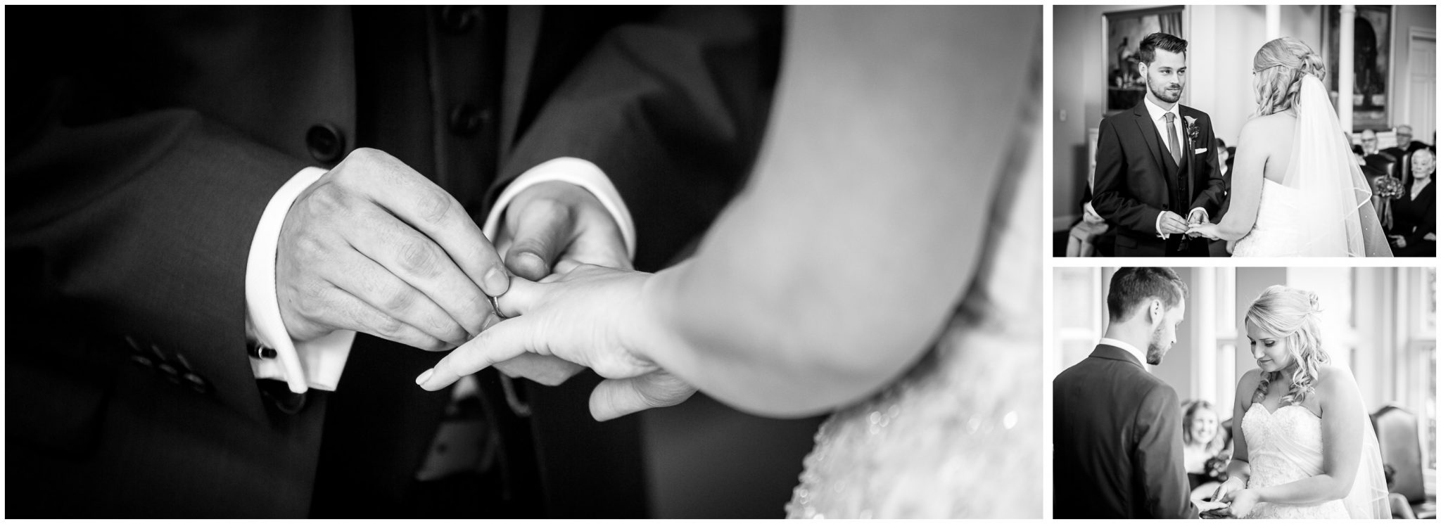 Audleys Wood wedding photograhy groom places ring on bride's finger
