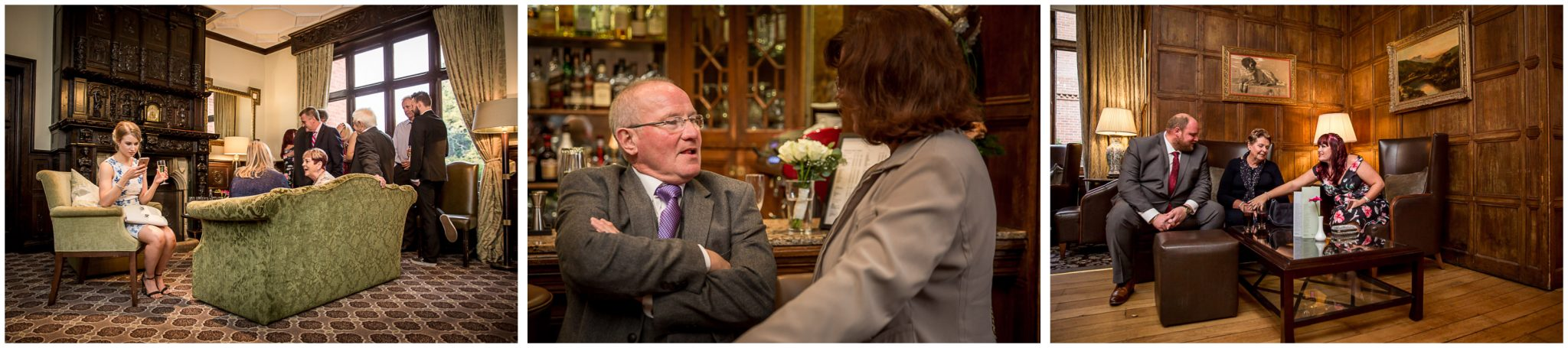 Audleys Wood wedding photograhy guests in the lounge