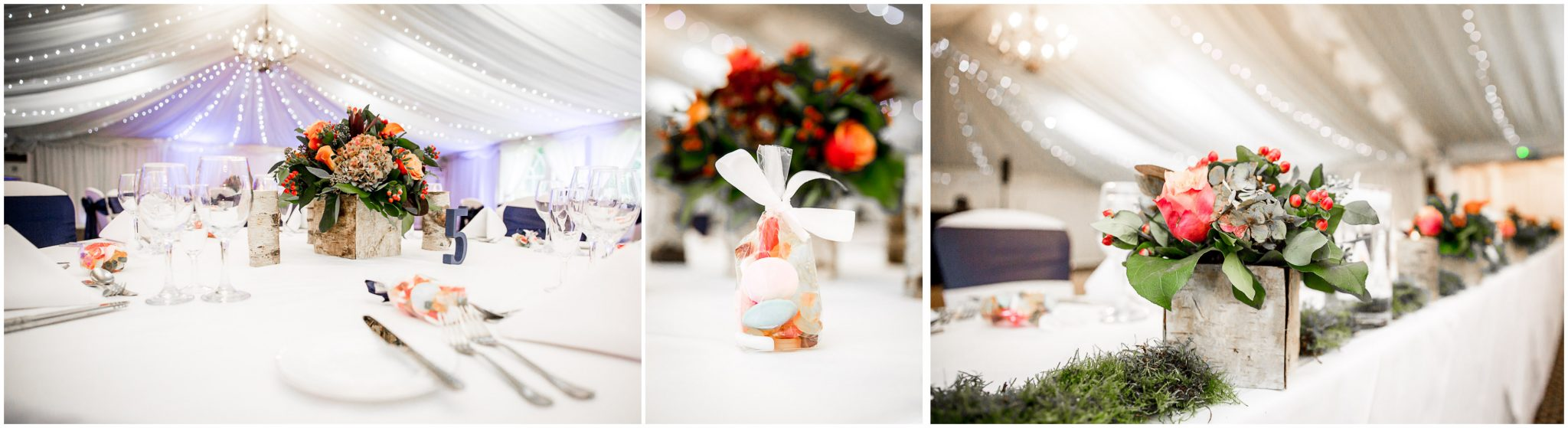 Audleys Wood wedding photograhy floral details in marquee