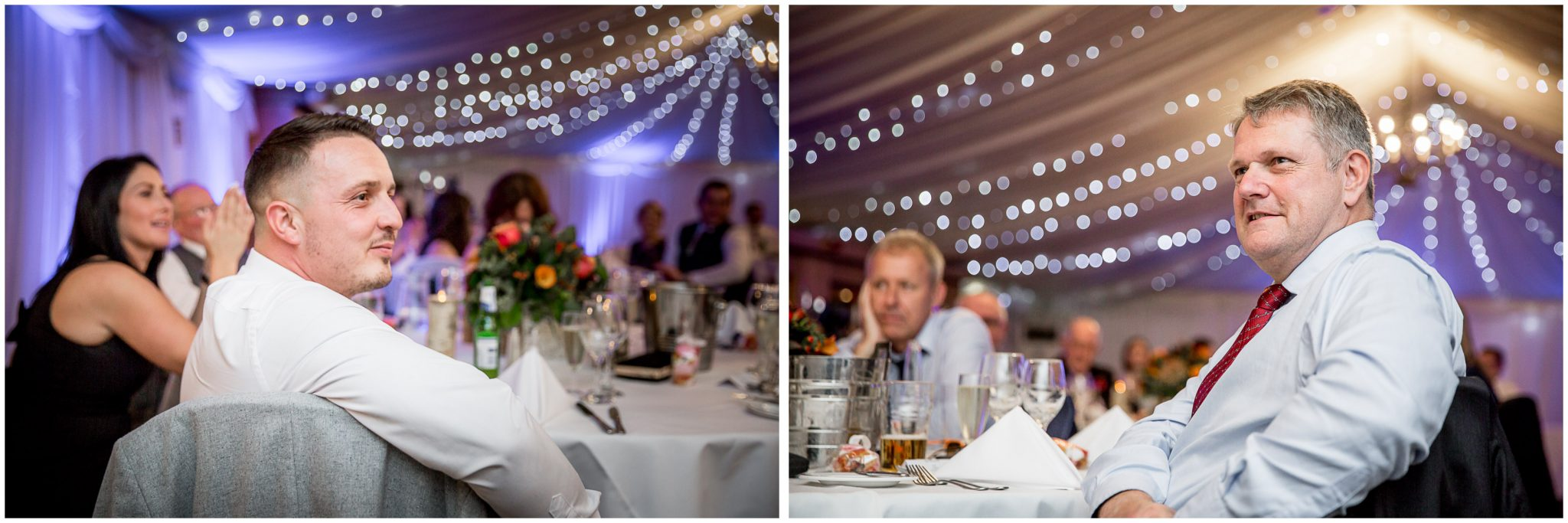Audleys Wood wedding photograhy guests watch speeches