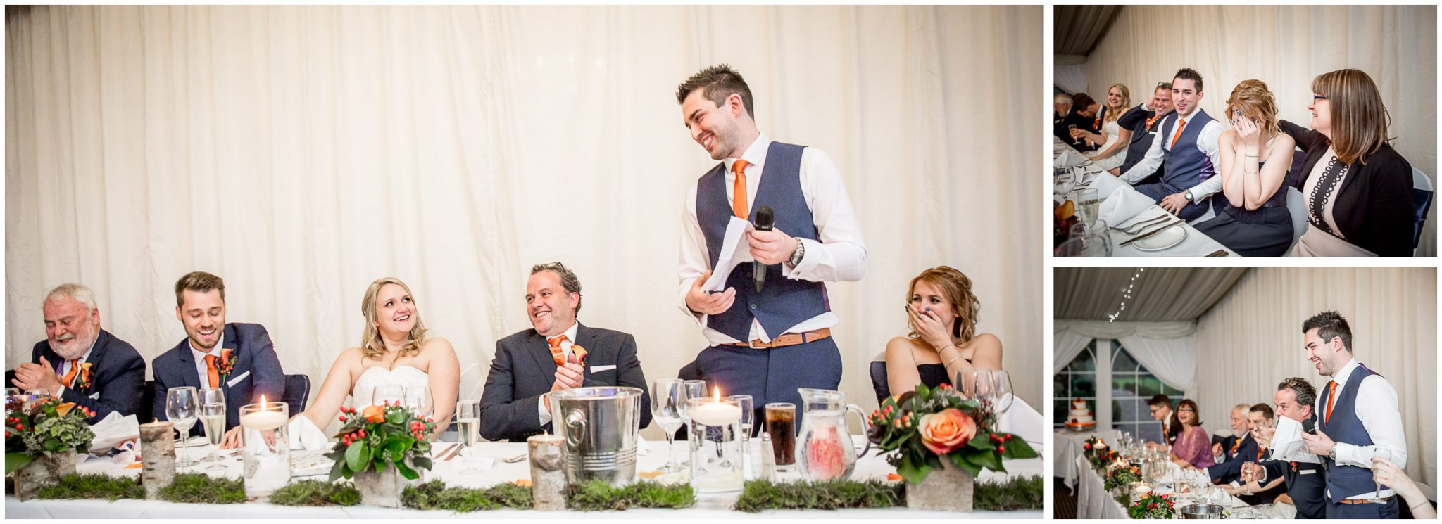 Audleys Wood wedding photograhy laughter during best man's speech