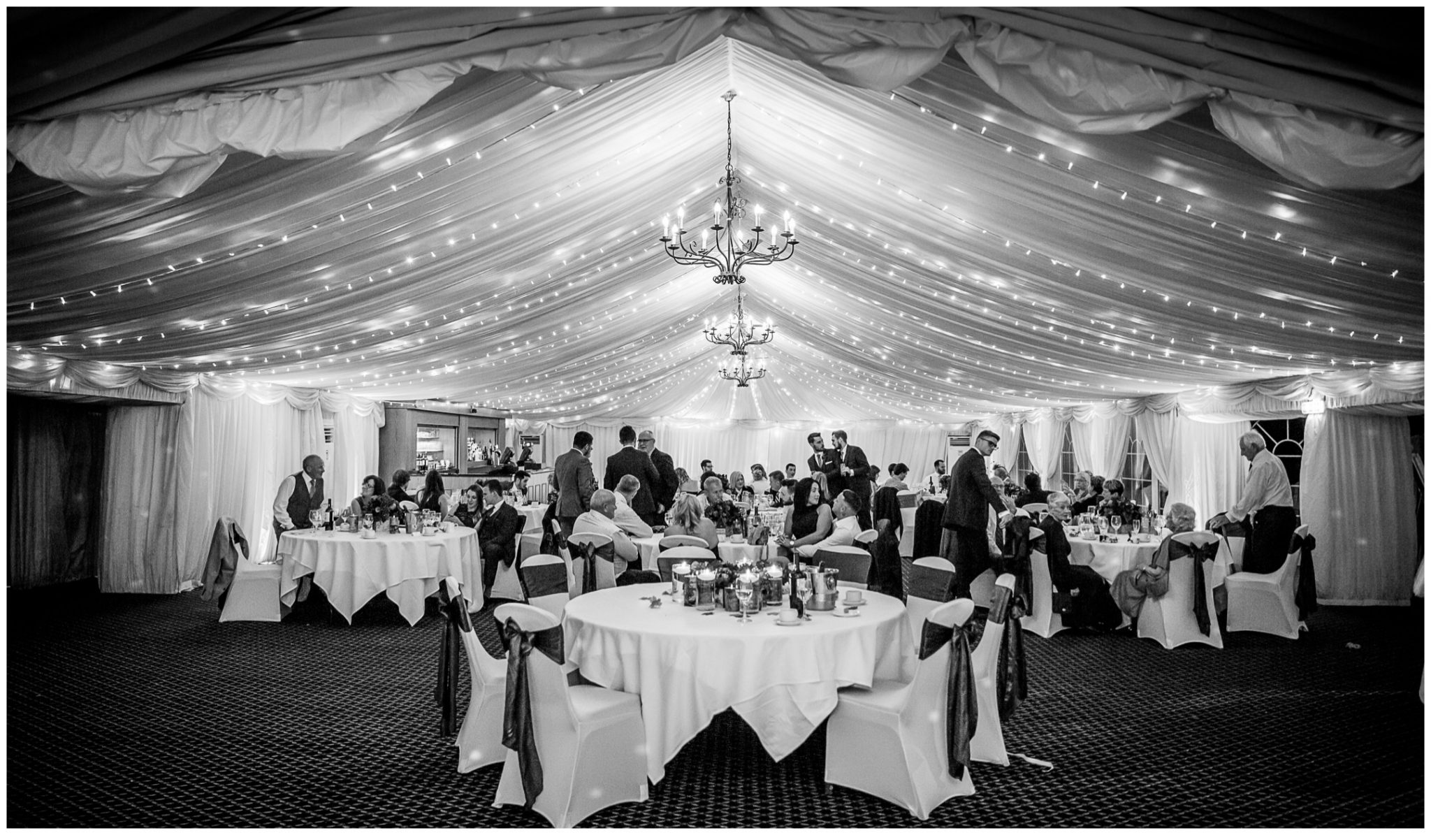 Audleys Wood wedding photograhy view inside marquee