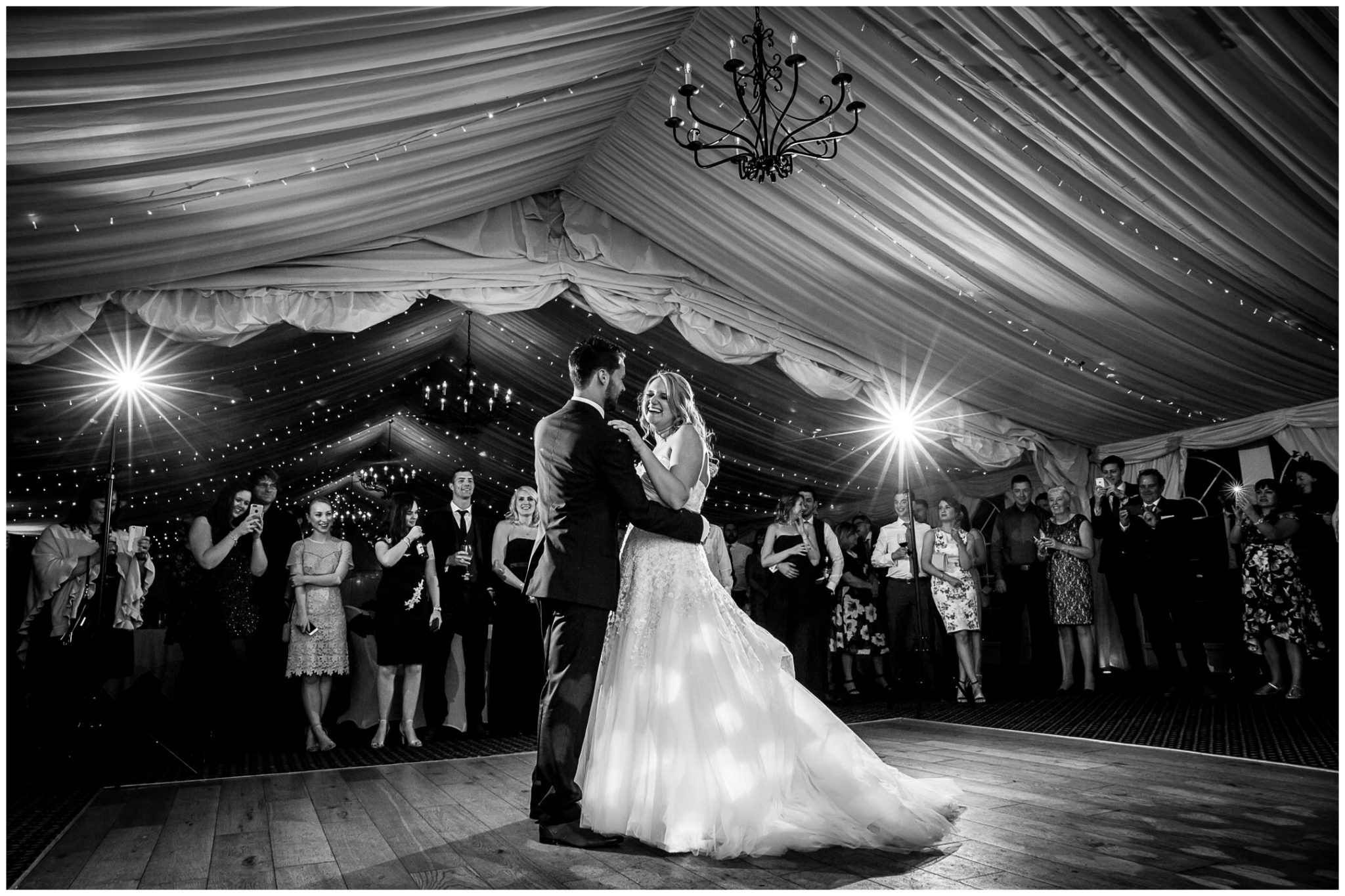 Audleys Wood wedding photograhy first dance bolack and white