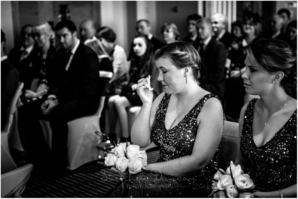 The Aviator wedding photography bridesmaid crying