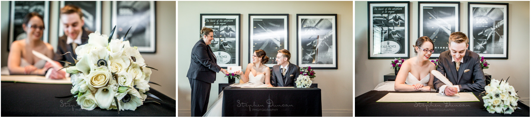 The Aviator wedding photography signing the register