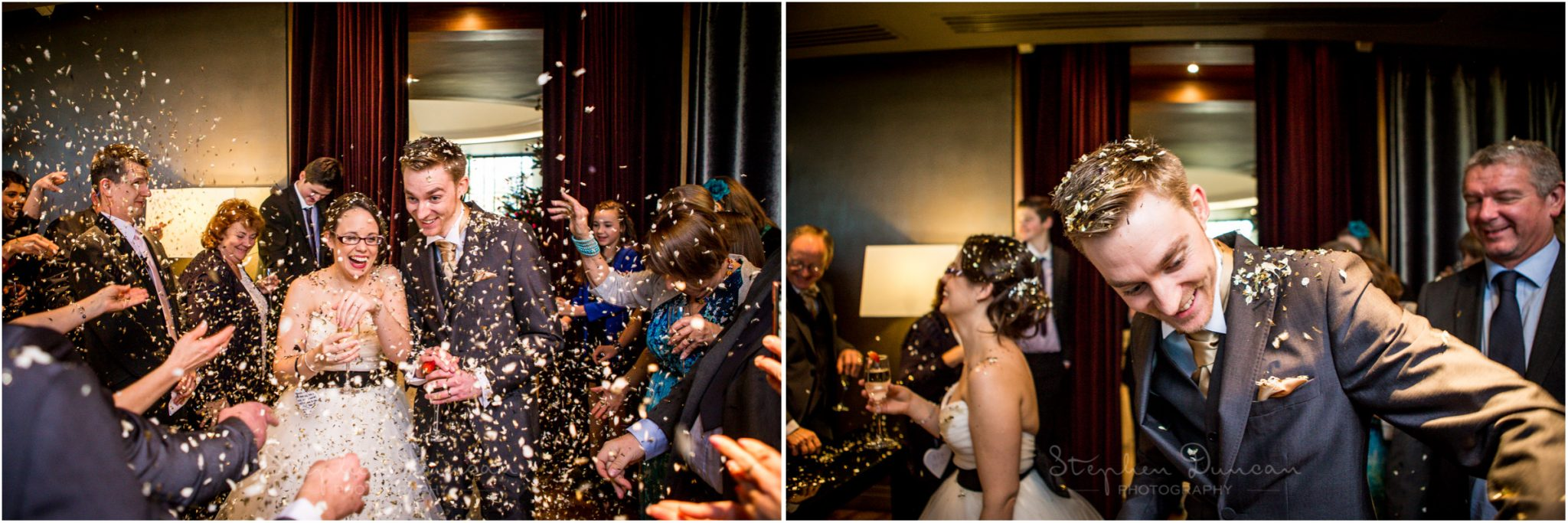 The Aviator wedding photography confetti