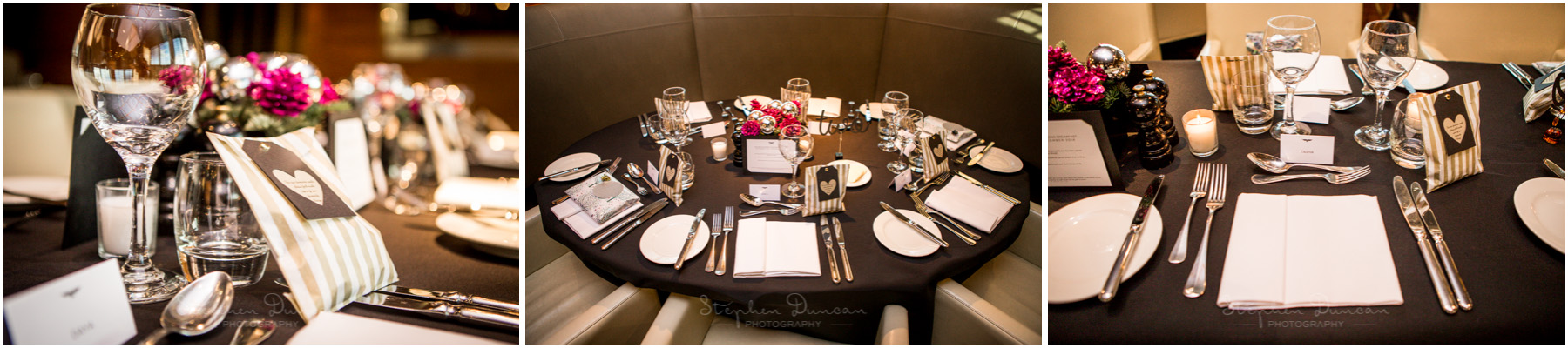 The Aviator wedding photography table settings in restaurant