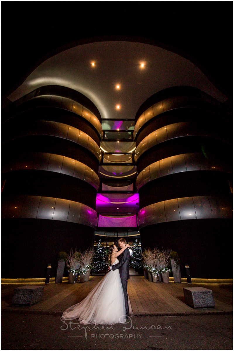 The Aviator wedding photography hotel entrance exterior lit up