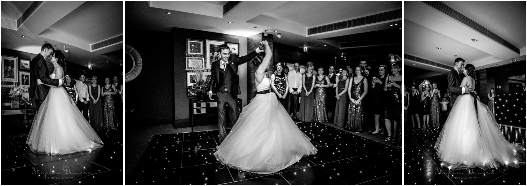The Aviator wedding photography bride and groom dance black and white