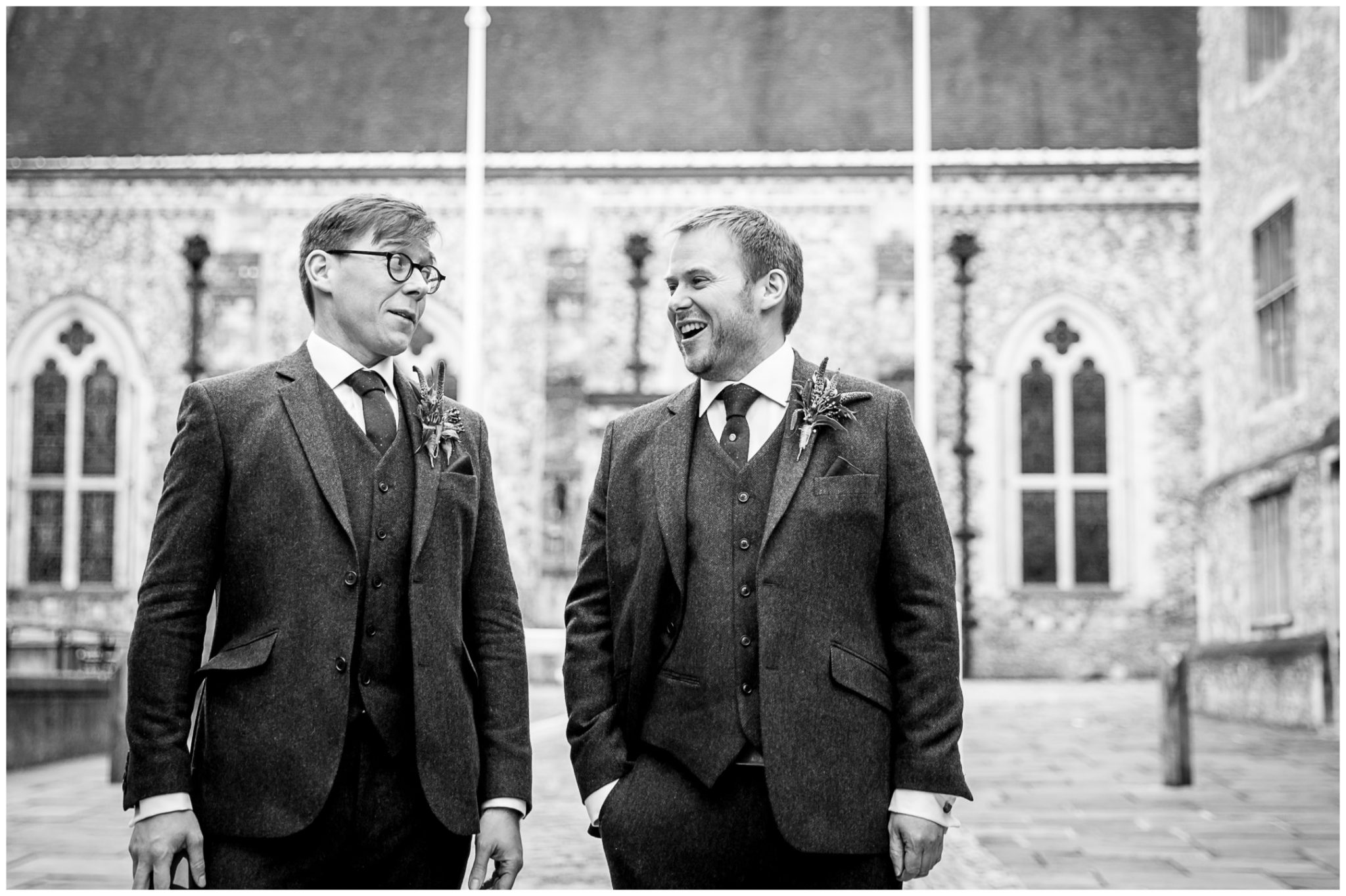 Castle Room Winchester wedding photography groom with best man and Great Hall in background