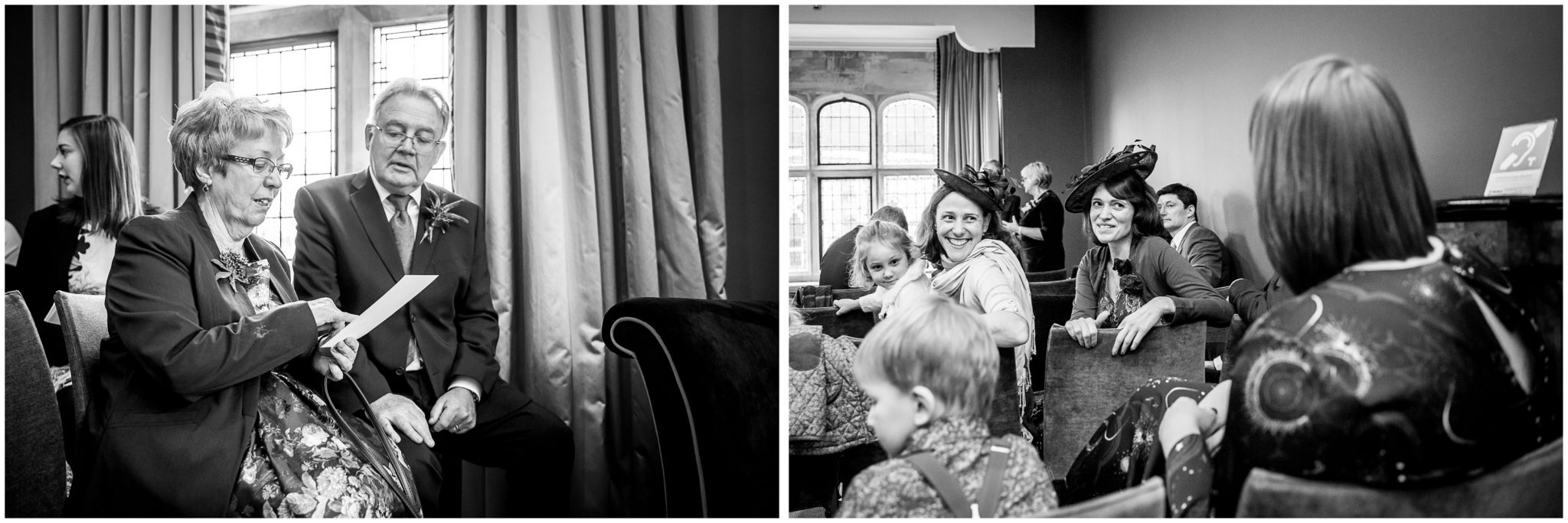Castle Room Winchester wedding photography guests before ceremony