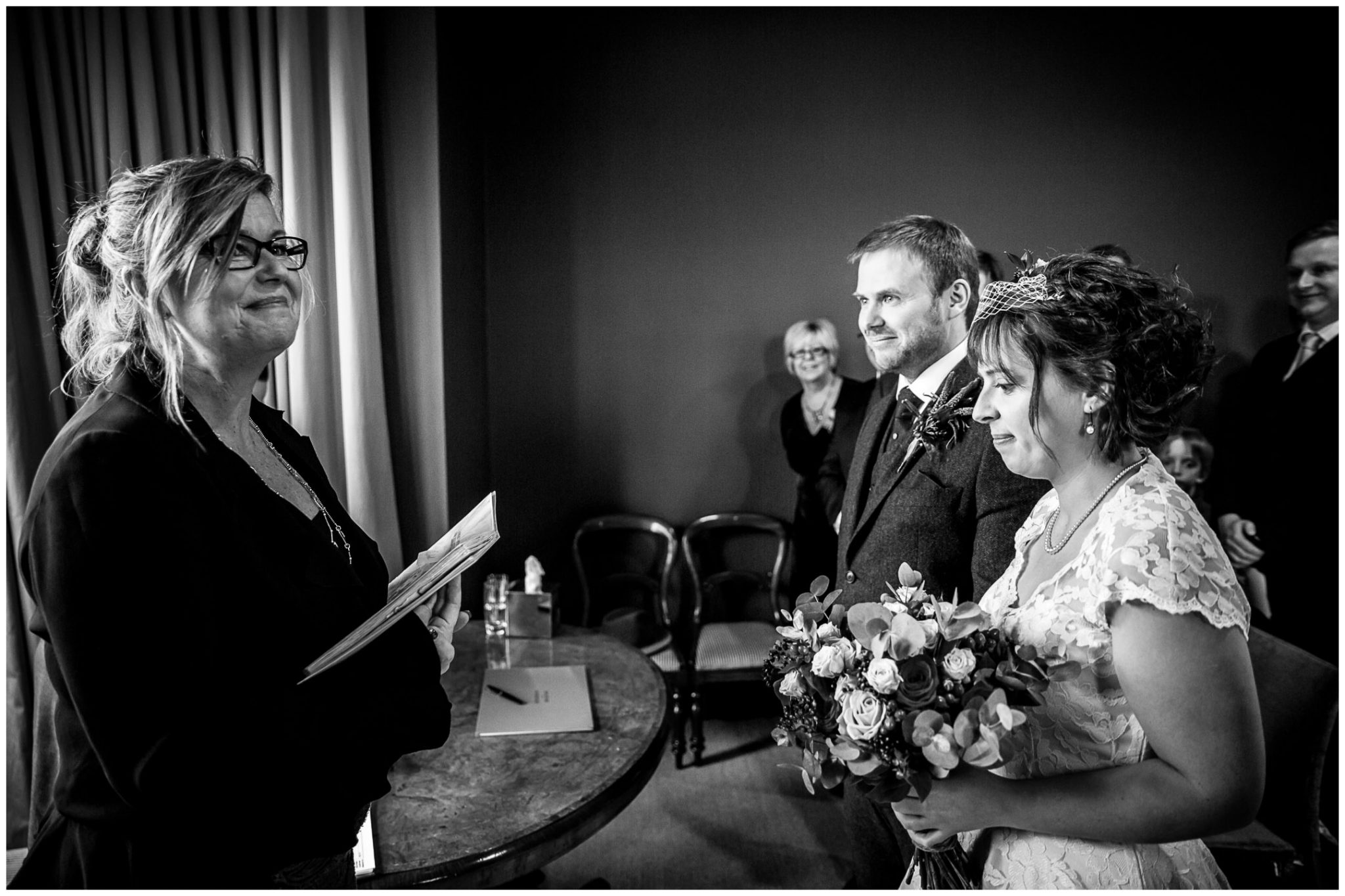 Castle Room Winchester wedding photography couple with registrar
