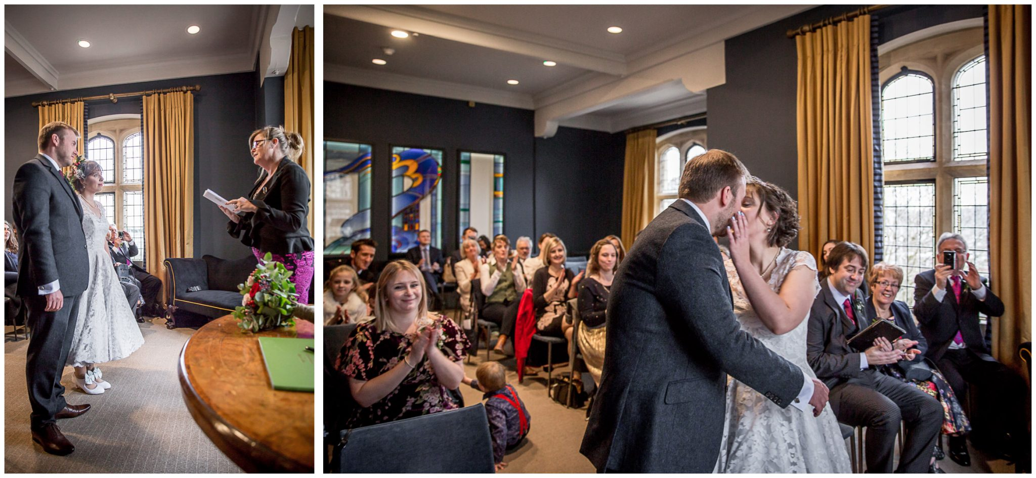 Castle Room Winchester wedding photography the kiss