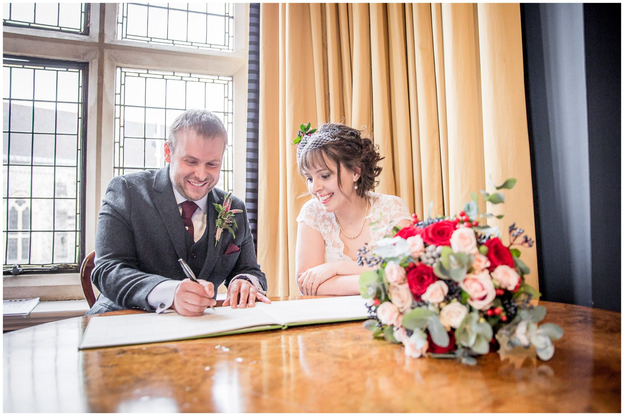 Castle Room Winchester wedding photography signing of the register
