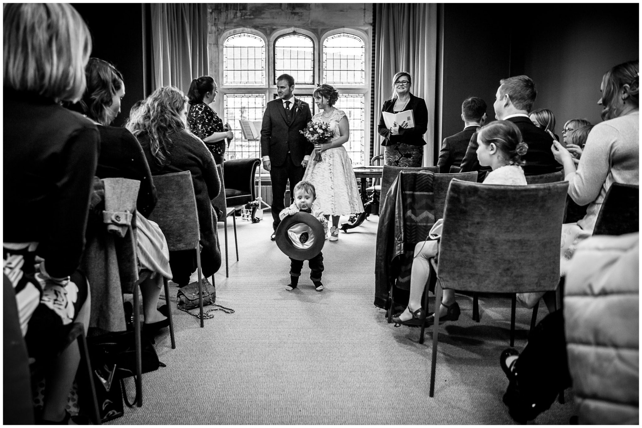 Castle Room Winchester wedding photography little guest photobomb