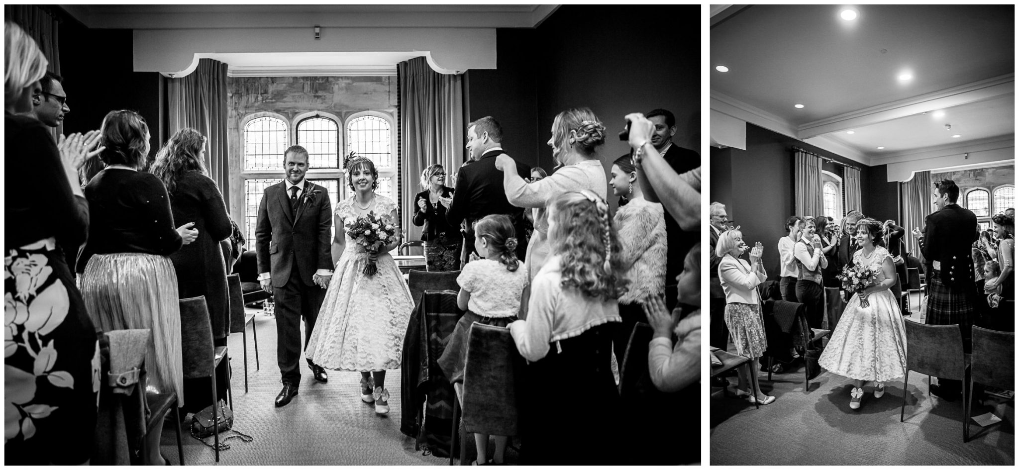 Castle Room Winchester wedding photography bride and groom walk down the aisle