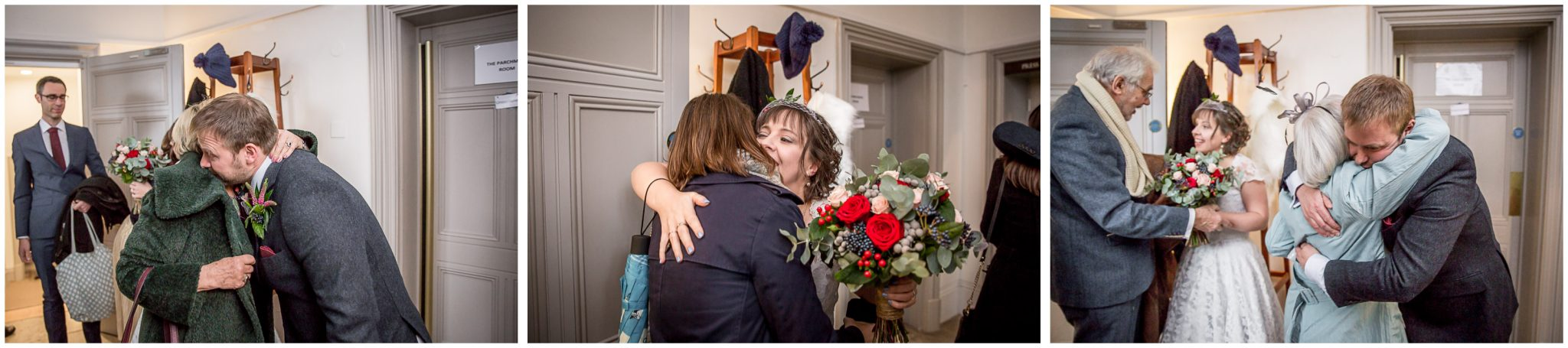 Castle Room Winchester wedding photography hugs outside ceremony room