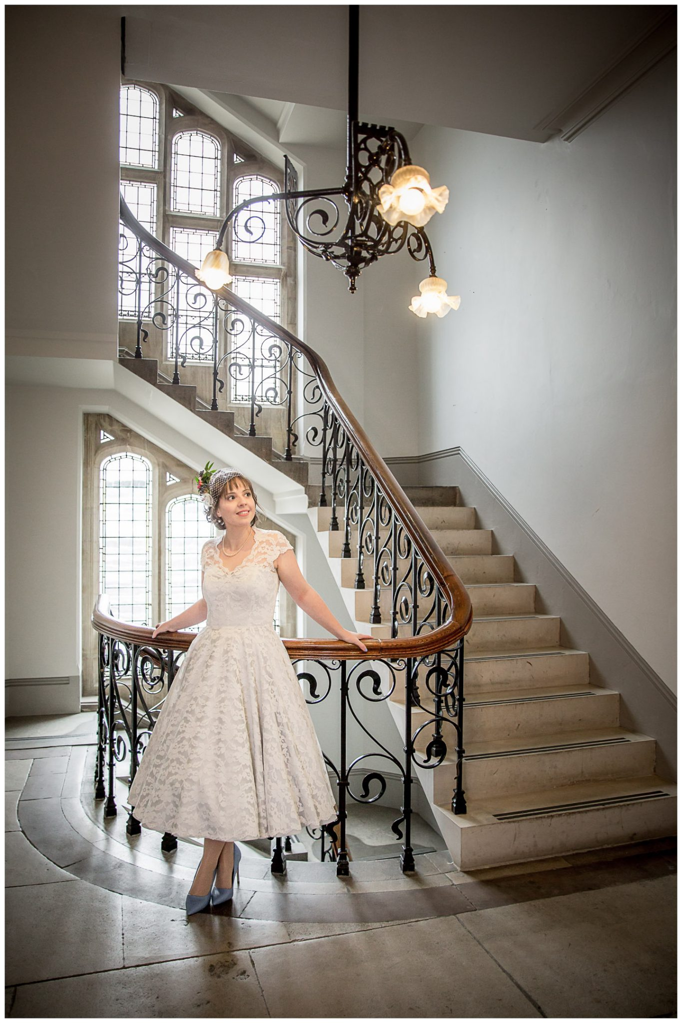 Castle Room Winchester wedding photography bride portrait by staircase