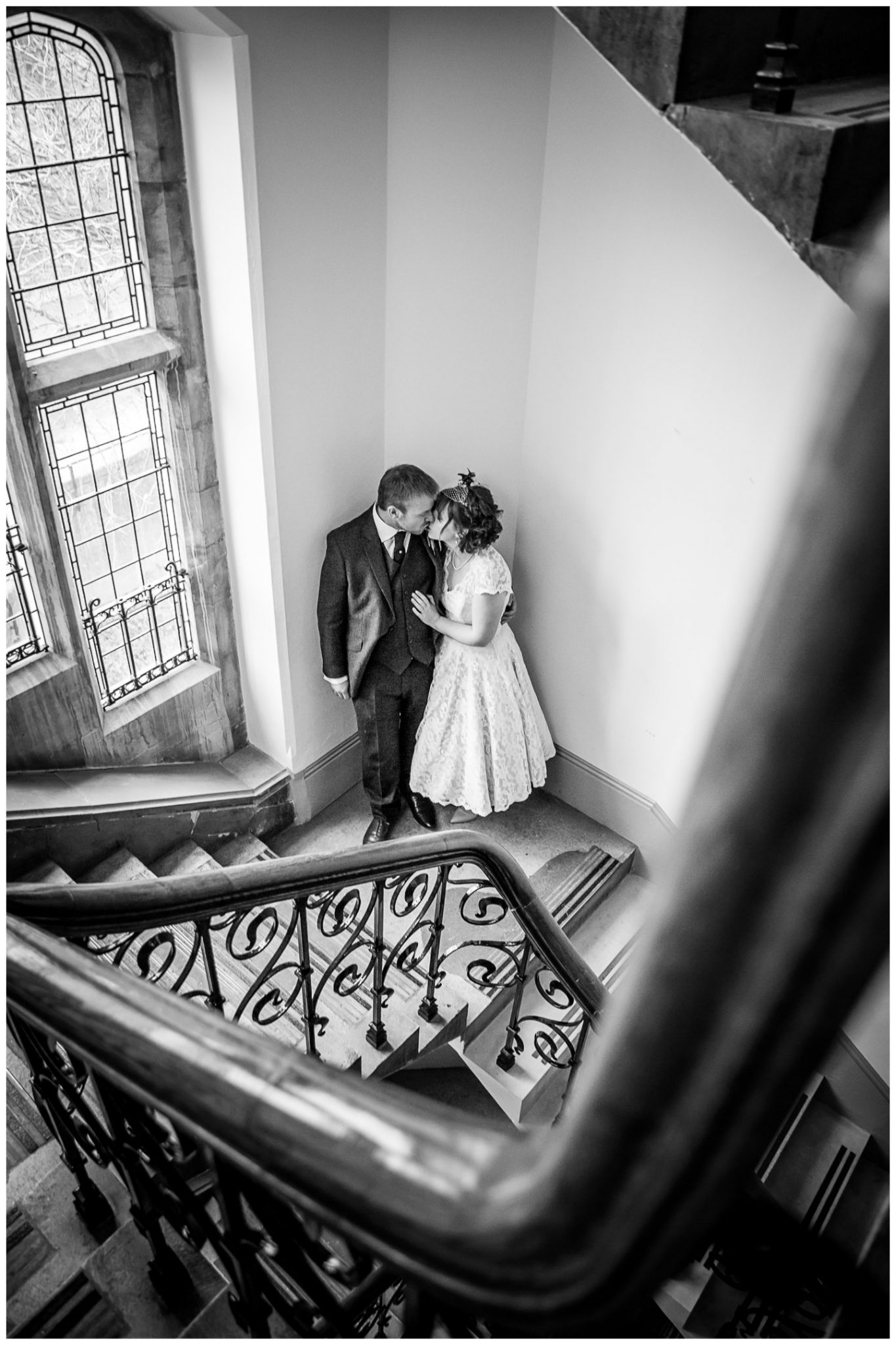 Castle Room Winchester wedding photography couple on stairs