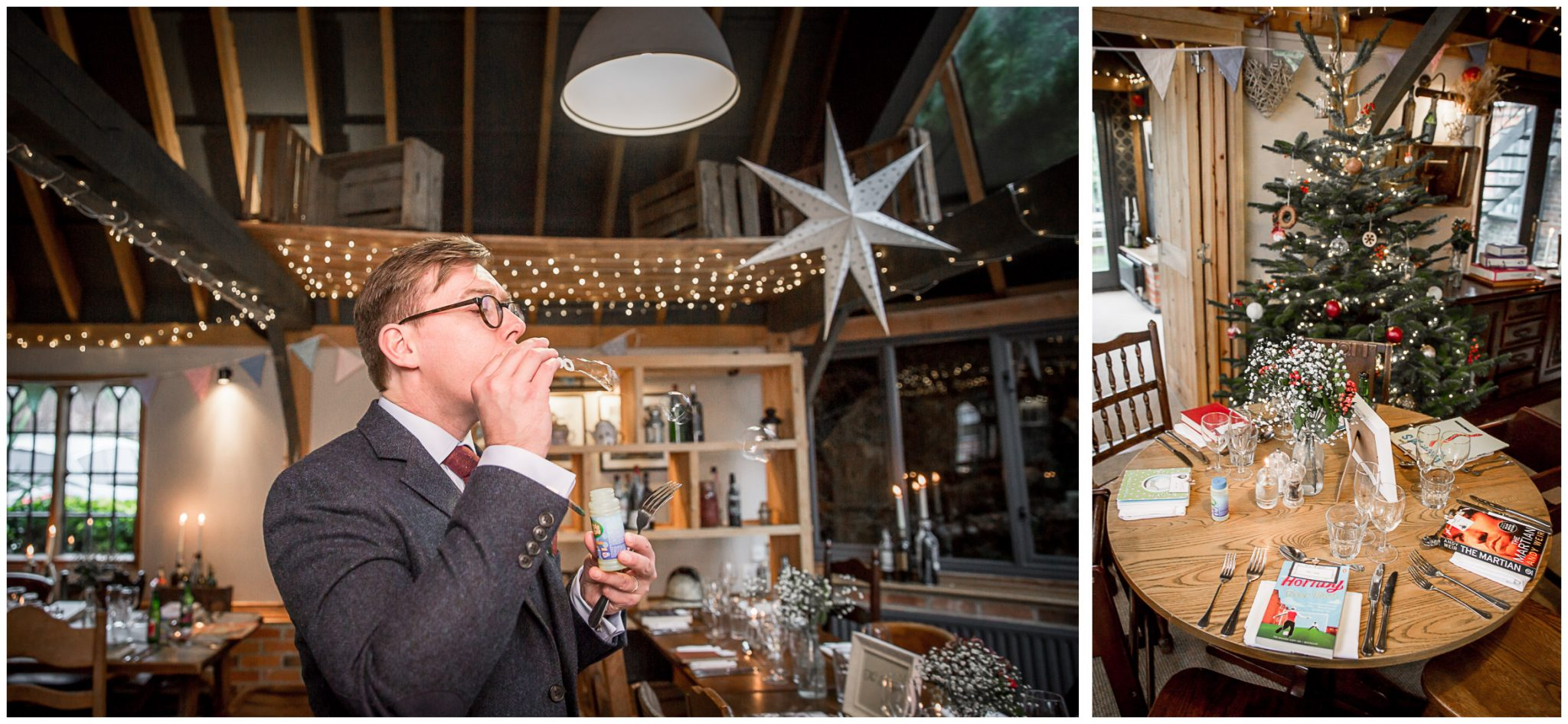 Castle Room Winchester wedding photography best man blowing bubbles