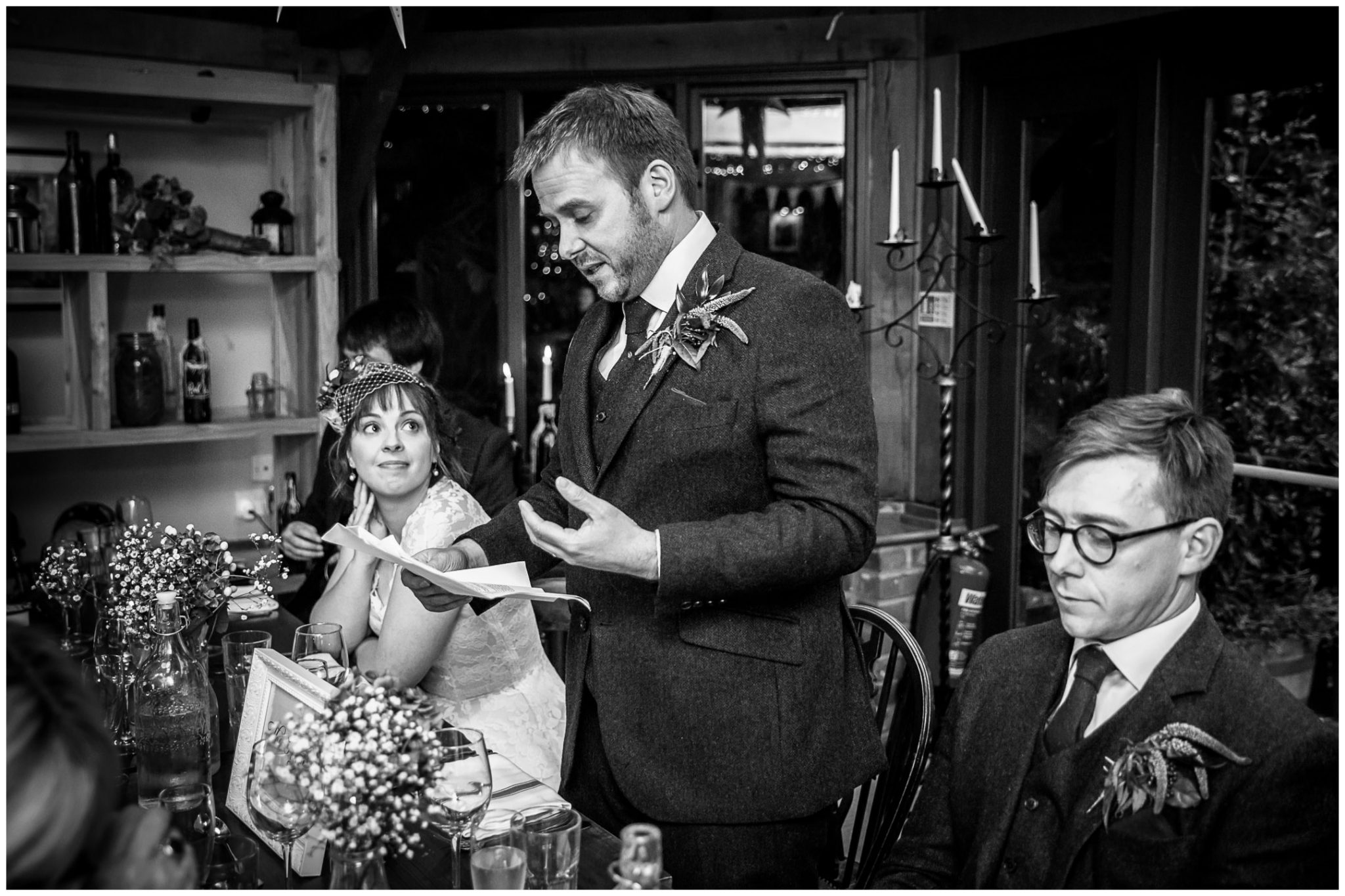 Castle Room Winchester wedding photography groom's speech