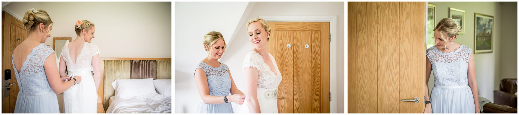 Oakley Hall wedding photography bride getting dressed