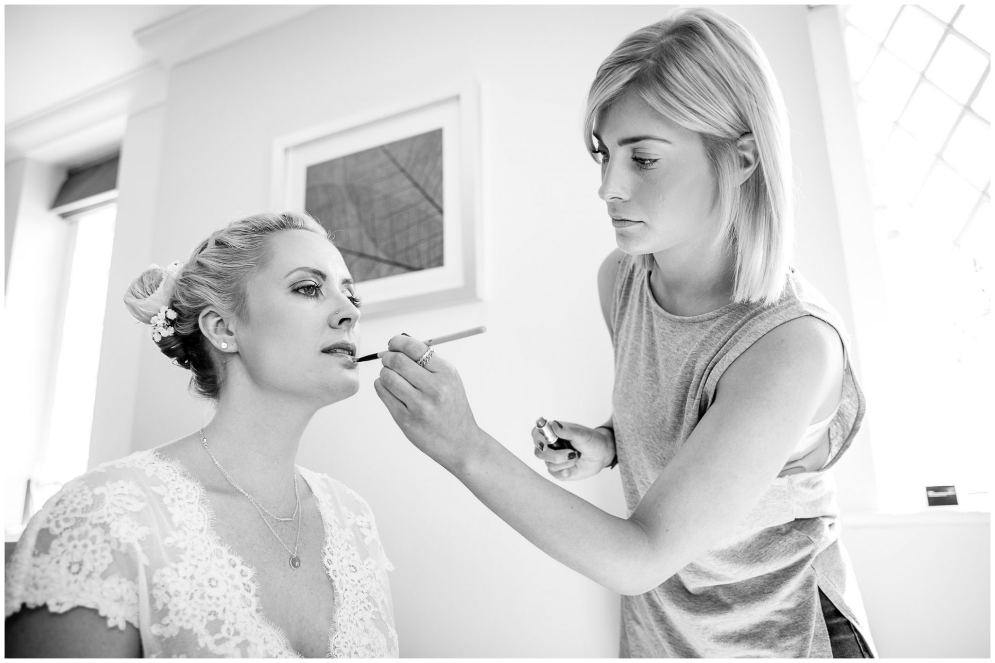 Oakley Hall wedding photography bride make up finishing touches