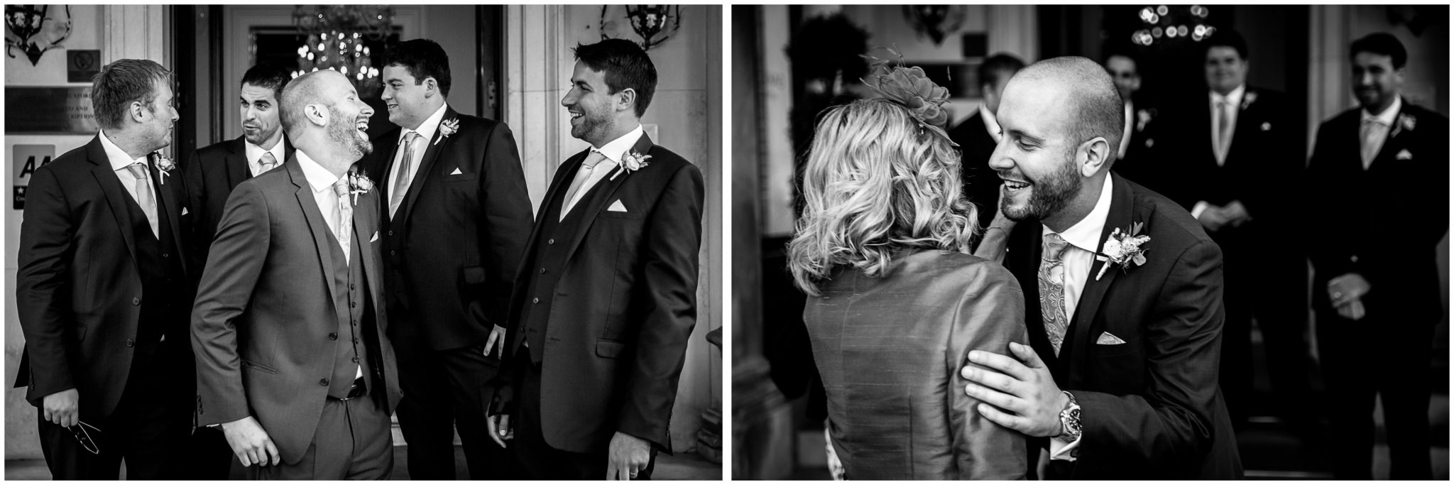 Oakley Hall wedding photography groom greeting arriving guests