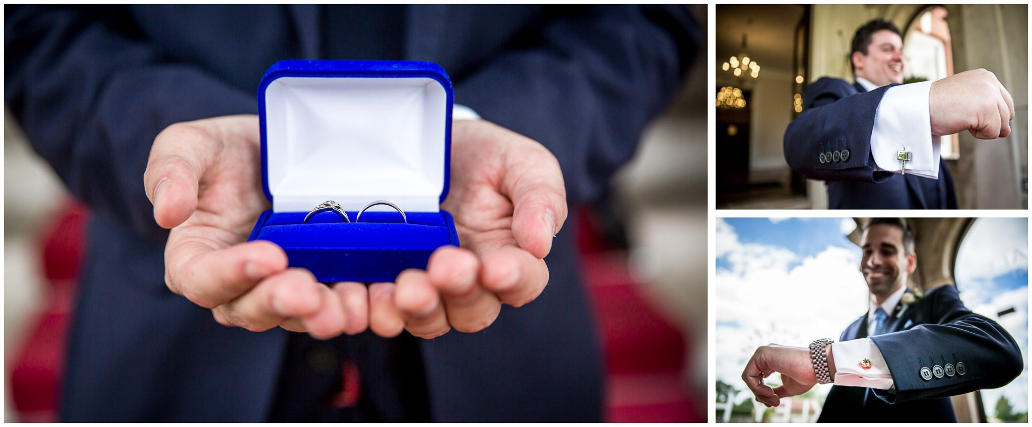 Oakley Hall wedding photography rings and cufflinks