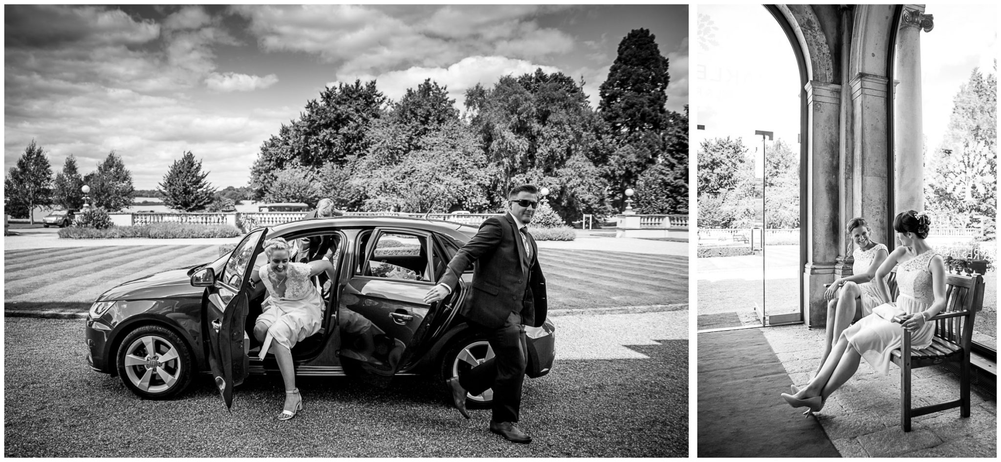 Oakley Hall wedding photography bride arrives at main entrance