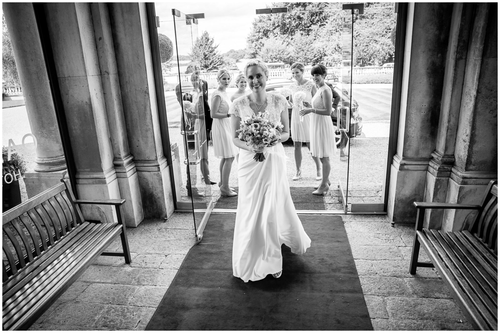 Oakley Hall wedding photography bride enters hallway