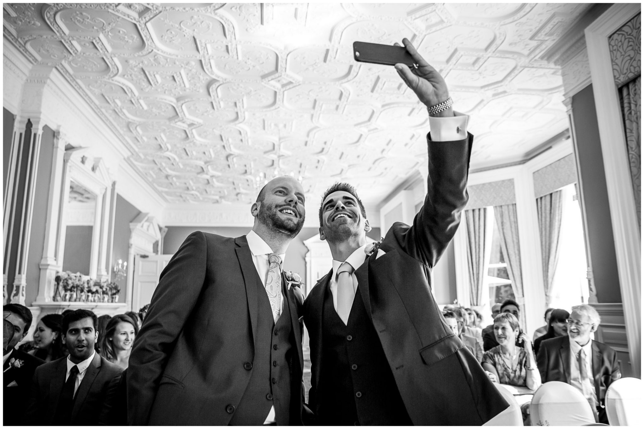 Oakley Hall wedding photography groom and best man selfie