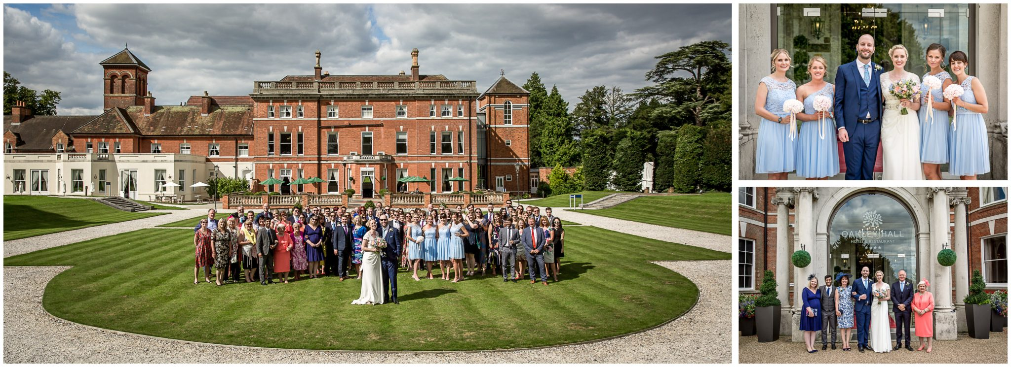 Oakley Hall wedding photography group photos on lawn