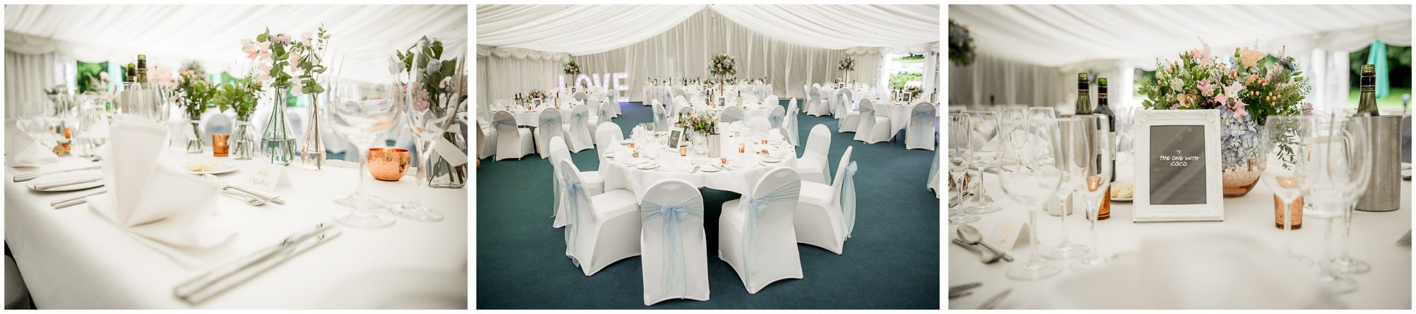 Oakley Hall wedding photography marquee interior