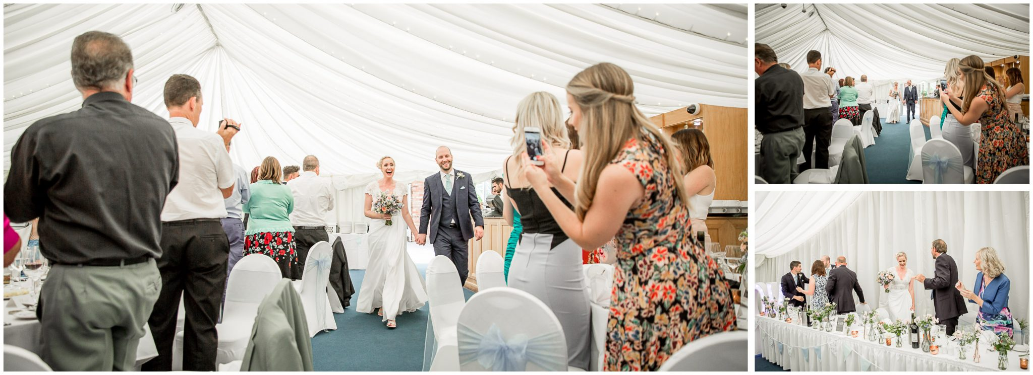 Oakley Hall wedding photography couple enter marquee